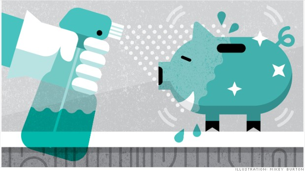 graphic of spraying a piggybank with cleaner